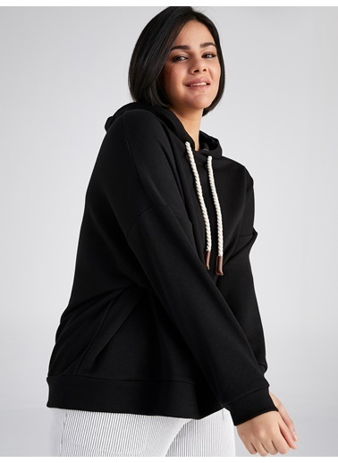 Faik Sönmez  Kapüşonlu Overshirt  Sweatshirt 61812 Siyah